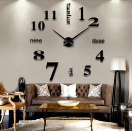 2019 tênis de mesa vintage Wall Mirror 3D Relógio de parede adesivos removíveis 4 cores auto-adesivo Arte do decalque relógios de parede Home Decor Sala Quartz Needle