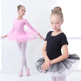 Traje preto laranja on-line-Meninas Tutu Vestido de Ginástica Crianças Tulle Contornou Leotards Trajes de Balé Preto Rosa Com Dot Tutus Q190604