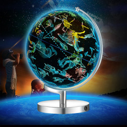 Materiales de puesta a tierra online-USB Luz LED 20 cm Mundo Tierra Globo Constelación Luminoso Mapa Rotatorio Geografía Educativo Juguete Escuela Material didáctico Decoración de escritorio