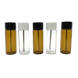 Klare aufbewahrungsboxen online-65mm Clear / Brown Glaswachsöl Lagervial Spice Pill Box Snuff Dosierer Kräutertabak Vorratsflasche Raucherzubehör Glaswachsöl Werkzeug
