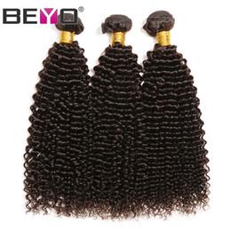 28 polegadas tecer cabelo castanho on-line-Weave do cabelo Castanho escuro Afro Kinky Curly cabelo humano Pacotes brasileira madeixas de cabelo Remy Extensão 3 Pcs / Lot 10-26 Inch # 2 Cor Beyo