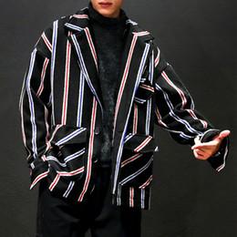 2019 estilo de japão estilo japão Japan Style Plus Size Jackets Men Outono Inverno Quente Listrado Mens Jacket Casual manga comprida Turn Down Collar Coats Casacos Quente desconto estilo de japão estilo japão