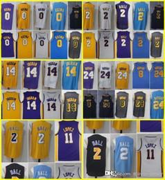 834741f38 Top quality 23 James 2 Lonzo LeBron Ball 0 Kuzma 2018 New Men Los Angeles  Jersey Lakers 14 Brandon Kyle Ingram 24 Bryant 8 Kobe