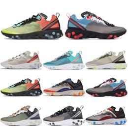 2019 zapatillas marrones React Element 87 Zapatillas de running para hombre Mujer Blanco Negro Verde Niebla Royal Tint Light Orewood Brown Sports Sports Sneakers Zapatilla de entrenador zapatillas marrones baratos