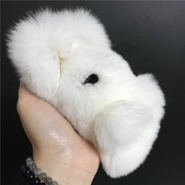 2019 giocattolo bianco coniglietto Magicfur - Novità! Real Rex Rabbit Fur Cute White Bunny Toy Portachiavi bambola Pom Ball Bag Bug Charm portachiavi accessori pendan giocattolo bianco coniglietto economici