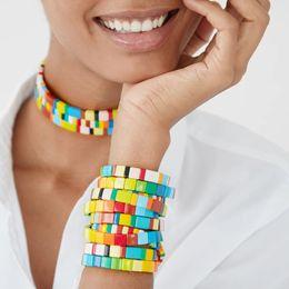 boho chic bijoux Promotion Shinus Bracelet pour les femmes arc-en-Tile Bracelets Pulsera 2020 coloré Boho Chic Summer Beach Fashion Bijoux en alliage d'émail Diy