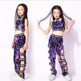 jazz violet Promotion Enfants Filles Purple Paillettes Manteaux Pantalons Hip Hop Vêtements Outfits Jazz Dance Costume
