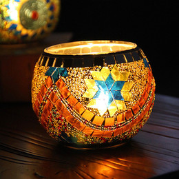 Glass Mosaic Candle Holder Lamp Christmas Home Party Decorative Tea Light Gifts