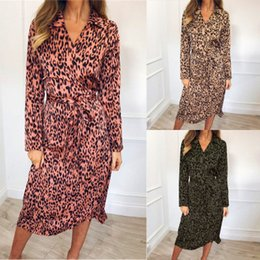 39a94803ad76 New Arrvial Women Elegant Leopard Print Shirt Dresses With Sashes V Neck Long  Sleeve Midi Women Casual Dresses P318