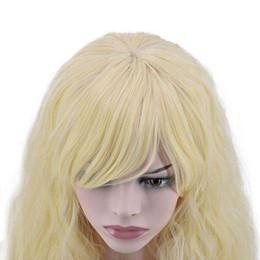 Cosplay perucas mulheres on-line-Top Quality Elegante Longo Ondulado Peruca mulheres Glamorous Partido Cosplay Peruca Resistente Ao Calor dourado Cabelo Cheio Longa Peruca Encaracolado