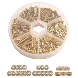 Штекер золотого цвета онлайн-Одна коробка 200шт старину золото металла 3-6-Strand разъем конца бар для изготовления ювелирных изделий