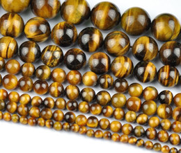 Colar feito de pedra on-line-Atacado Natural Tiger Eye Rodada Loose Stone Beads Para Fazer Jóias Diy Pulseira Colar 4/6/8/10mm Strand 15 ''