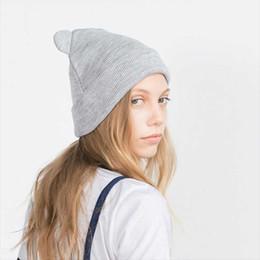 2020 chapéu de lã de orelha de gato preto Orelhas Bigsweety novo gato malha chapéu morno encantador engraçado Inverno Beanie Hat para as Mulheres Wool Cap Preto Cinzento desconto chapéu de lã de orelha de gato preto