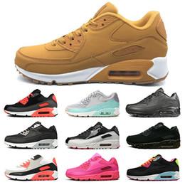 Cojines rosa baratos online-nike air max 90 Zapatillas para mujer baratas Triple Blanco Negro Amarillo rosa Hombres Zapatillas de deporte Cojín Superficie Zapatillas deportivas transpirables tamaño 36-45