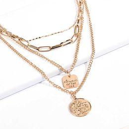 Halskette drei kreuze online-Damenmode Pendent Halskette Strass Schmuck Vintage Drei Schicht Kreuz Münze Muster Metall Aussage Halskette Geschenke für frauen