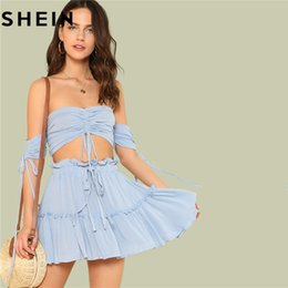 f98e34de696 SHEIN Summer Outfits for Women Two Pieces Set Boho Beach Vacation  Drawstring Crop Bardot Tops and Drawstring Tiered Skirt Sets