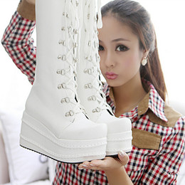 Stivali bianchi online-New Fashion Donna Cross Straps Stivali High-Leg Platform Stivali Single Boots Nero, Bianco