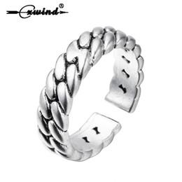 Doppel-finger-legierung ring online-Cxwind Vintage Twist Seil Ring Punk Legierung Einstellbar Fingerring Unisex Antike Doppelte Twist Ringe Schmuck Drop Shipping