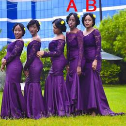 dos vestidos de dama de honor morados Rebajas 2019 dos estilos sirena púrpura vestidos de dama de honor apliques de encaje hombro más tamaño vestido de dama de honor vestidos largos de boda baratos invitados