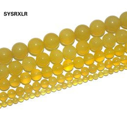 Ücretsiz Kargo Doğal Taş Sarı Agates Boncuk Yuvarlak Gevşek Takı Yapımı Için DIY Bilezik Kolye 4 6 8 10 12 MM Strand 15 '' supplier yellow natural stone jewelry nereden sarı doğal taş takı tedarikçiler