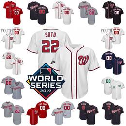 camisola de basebol de flanela Desconto 2019 World Series WS Nationals Juan Soto Jersey Max Scherzer Rendon Turner Zimmerman Taylor Strasburg Corbin Eaton Harper Murphy DIFO Homens W2