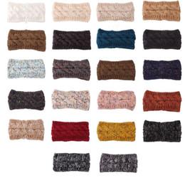 Canada Fille d'hiver en tricot Bandeaux Designer chaud Turban Crochet Bande élastique de cheveux à la main Turban 22 Styles Couvre-chef Femmes Accessoires de cheveux Cadeaux Offre