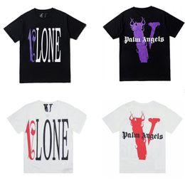Vlone Mens Designer T Shirt Palm Angels Uomo Donna T Shirt Maniche corte Camicia di design Hip Hop di alta qualità Tees da