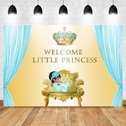 computador de tijolo Desconto Mehofoto Baby Shower pano de fundo para fotos Royal princesa fundo diamante coroa luz azul cortina de ouro fotografia Backgroun
