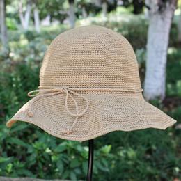 Cappelli di paglia di paglia delle signore online-2019 New Design Rafi Straw Hats Holiday Activities Cuffie da spiaggia a tesa larga Cappelli da donna a protezione UV abbattibili