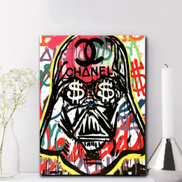 watercolor seascape paintings Coupons - Darth Vader Evil Poster Alec Monopolyingly Paintings on Canvas Modern Art Decorative Wall Pictures For Living Room Home Decoration