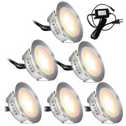 светодиодные наборы для сада Скидка Встраиваемые комплекты светодиодных светильников для палубы 6 шт. В грунте Наружные водонепроницаемые светодиодные фонари низкого напряжения IP67 для садовой площадки для лестниц патио