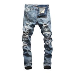 Diseños de productos únicos online-Pantalones vaqueros para hombres Partes inferiores de herramientas Denim 2019 nuevos productos Slim fit personalidad diseño cómodo Agujero único en el frente