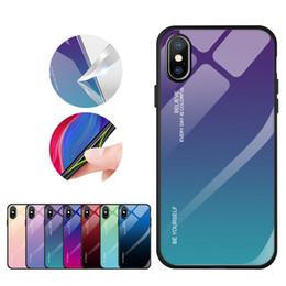 2019 funda protectora de camo iphone Funda de teléfono de vidrio templado de color degradado con borde de TPU suave para iPhone 11 XS MAX XR Huawei Mate 20 P Smart Samsung S8 S9 S10 J7 Prime J8