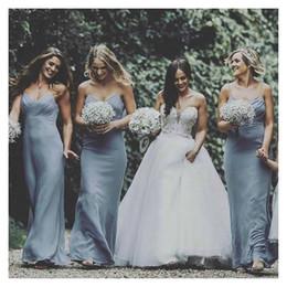 2019 giardini d'oliva 2019 New Dusty Blue Chiffon abiti da damigella d'onore Summer Garden Beach Wedding Guest Maid of Honor Abiti Plus Size BM0365 sconti giardini d'oliva