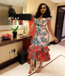 голубой хлопок абая Скидка 2019 лето новый стиль, модный африканский стиль, цифровая печать, v-образный вырез, юбка-волан, платье