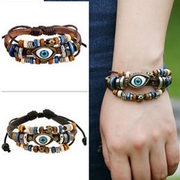 Cuir ambré en Ligne-Bracelet en cuir de perle d'ambre en cuir bleu multi brin Vintage gratuit fait à la main avec turc Evil Eye Charms Bracelets réglables Bracelet B907S F