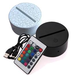 Base de batería led online-Base de lámpara LED RGB Lights para lámpara de ilusión 3D Panel de luz acrílica de 4 mm Batería AA o DC 5V USB 3D luces nocturnas