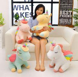 almohada unicornio Rebajas Prettygift Cartoon Lying Unicorn Plush Toy Soft Doll Cute 40cm angel Peluche Animal Unicornio Cuddle Apaciguar Sleeping Horse Pillow Gift 25cm