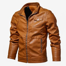 Abrigos de invierno modernos online-Otoño Nueva Moda Hombre Diseñador Biker Chaquetas de cuero Negro Marrón Tamaño grande 6XL Chaquetas Casual Streetwear Moderno Para Hombre Gilet Abrigo de invierno