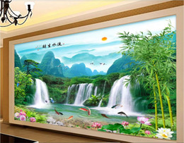 fiber flow Promo Codes - 3d room wallpaper custom photo non-woven mural Beautiful landscape, landscape painting, flowing water, waterfall, TV wallpaper for walls 3 d