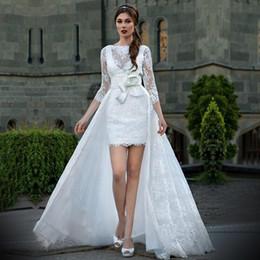 Vestido de casamento de cetim removível on-line-2019 nova a noiva gola 3/4 manga cetim sexy unbacked vestido de noiva de renda removível cinto vestidos de noiva vestidos de novia