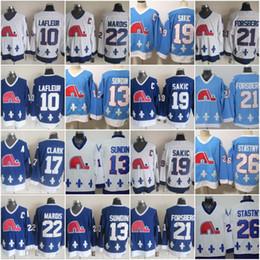 camisolas de quebec-nordiques Desconto Camisolas de Hóquei de Quebec Nordiques 13 Mats Sundin 19 Joe Sakic 21 Peter Forsberg 26 Peter Stastny Camisolas Blue Wite