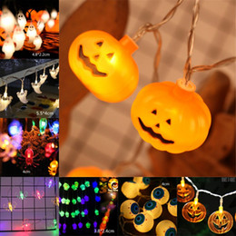 Luci all'aperto di zucca di halloween online-10 LED Hanging Halloween Decor Pumpkins / Ghost / Spider / Skull LED String Lights Lanterne Lampada per fai da te Home Outdoor per feste