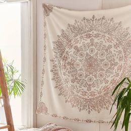 tapices bohemios Rebajas Tapiz Mandala Hippie bohemio colgante de pared Flor tapiz colgante de pared decoración para sala de estar dormitorio tapices