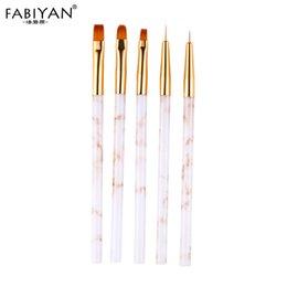 2019 disegni rotondi 5 Pz / set Nail Art Brush Disegno Pittura Flower Pen Liner Rotondo acrilico UV Design 3D Gel Polish Decorazione Suggerimenti Strumenti per manicure disegni rotondi economici