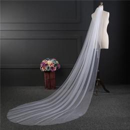 Velo lungo pianura online-2019 più venduti Plain Un-Strato 3M lungo Wedding Bridal Veils Bianco / avorio / beige / Champagne / colore rosso con il pettine