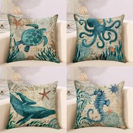 45x45 cm Home Cushion Covers Lino Divano Federa Stampa su un solo lato Marine Sea Turtle Seahorse Whale Octopus DH0569 da