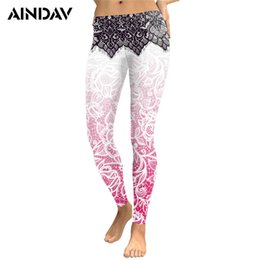 2019 collants d'entraînement roses AINDAV Femmes Legging Pantalons De Yoga Mandala Fleur 3D Impression Numérique Mince Rose De Remise En Forme Fitness Running Collants Compression Pantalon # 996784