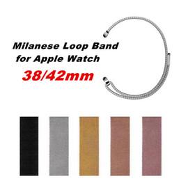 Argentina 5 colores Bandas milanesas de acero inoxidable con banda de lazo para reloj de Apple 38mm 42mm Serie 1/2/3 Pulsera de reloj de metal supplier apple watch bands milanese Suministro
