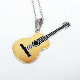 Подвески для мужчин онлайн-Men Small Pendant HIP Rock Two Tone Gold Color Titanium Stainless Steel Music Guitar Pendant DIY Necklace for Male Jewelry